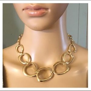 Lg Gold Circle Linked Statement Necklace